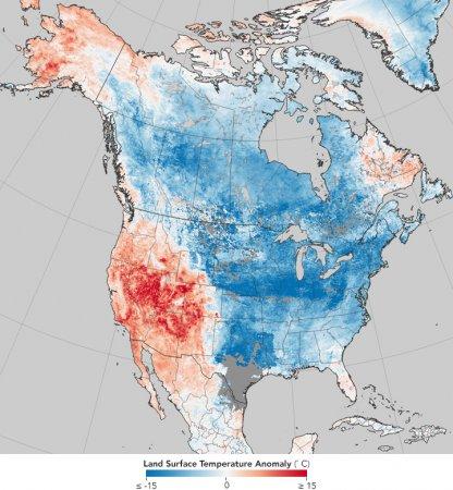 NASA показала карту температурних аномалій у світі