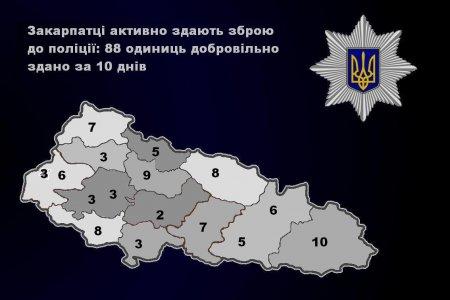 Закарпатці активно здають зброю до поліції: 88 одиниць добровільно здано за 10 днів