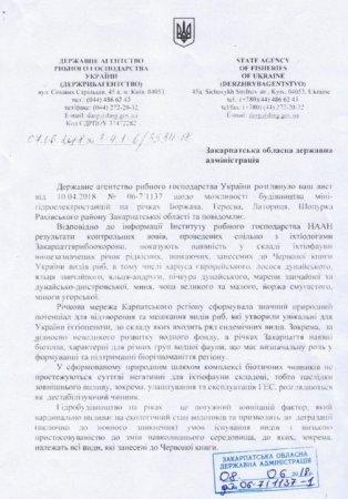Державне агентство рибного господарства виступає проти будівництва міні-ГЕС на Закарпатті