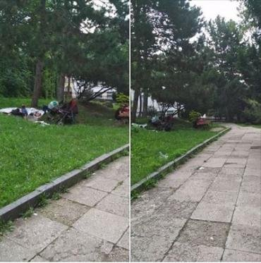 Біля мерії в Ужгороді в парку живе сім'я з дітьми
