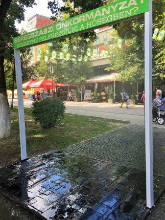 В Берегові в центрі міста встановили іноваційну рамку з оприскувачами води (фото)