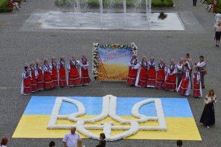 Головну площу Закарпаття прикрасила карта України з живих квітів (ФОТО)