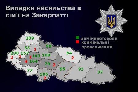 Поліція Закарпаття за 7 місяців зафіксувала на території області 1887 випадків насильства в сім'ї