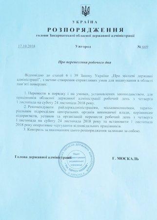 День пам'яті померлих на Закарпатті: Москаль підписав розпорядження про вихідний