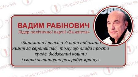 Вадим Рабінович: «Влада розікрала зарплати і пенсії українців»