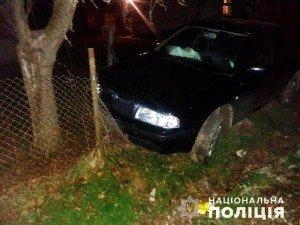 На Хустщині п'яний водій хотів утекти від поліцейських і влетів у паркан (ФОТО)