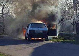 На Берегівщині на ходу спалахнула «Таврія» (ФОТО)
