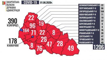 COVID-19 - Закарпаття, в розрізі районів, станом на 1 червня