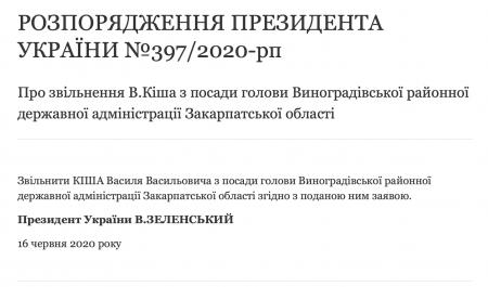 Розпорядження про звільнення В. Кіша з посади голови Виноградівської РДА опубліковано на сайті Президента