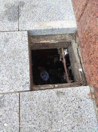 В Ужгороді на центральній площі  дитин впала у яму на тротуарі (ФОТО)